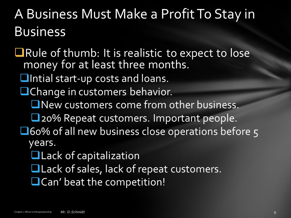  Rule of thumb: It is realistic to expect to lose money for at least three months.  Intial start-up costs and loans.  Change in customers behavior.