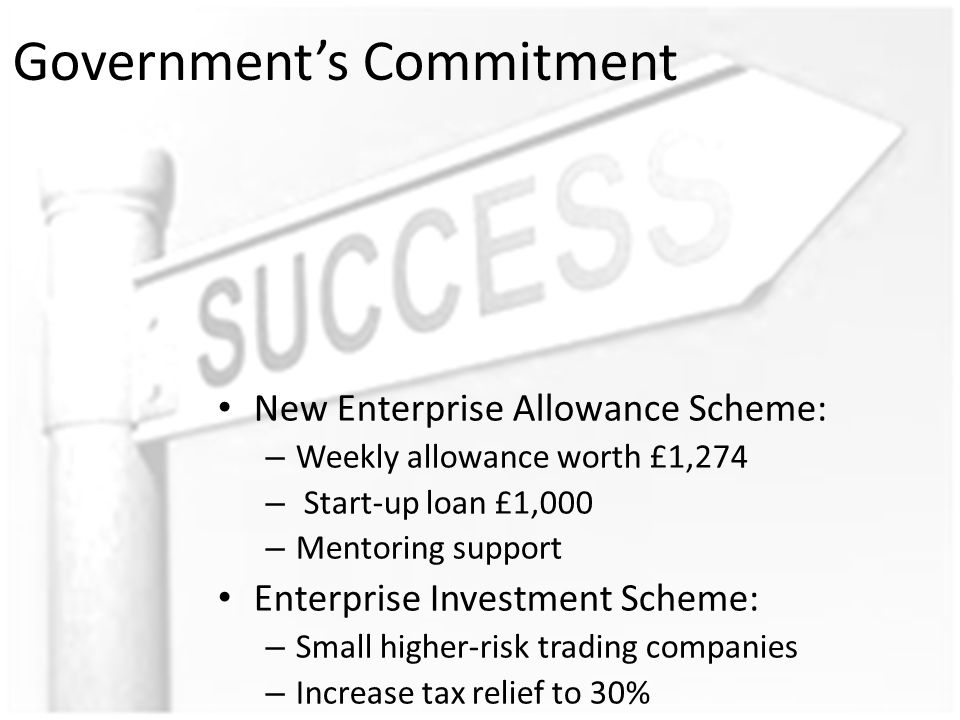 Government's Commitment New Enterprise Allowance Scheme: – Weekly allowance worth £1,274 – Start-up loan £1,000 – Mentoring support Enterprise Investment Scheme: – Small higher-risk trading companies – Increase tax relief to 30%