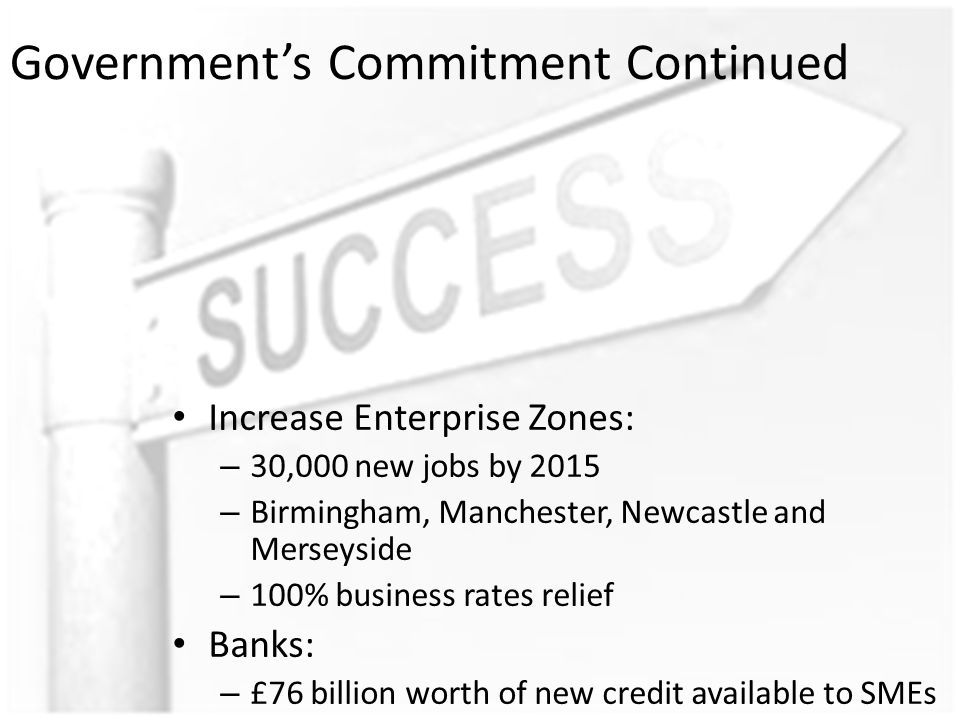 Government's Commitment Continued Increase Enterprise Zones: – 30,000 new jobs by 2015 – Birmingham, Manchester, Newcastle and Merseyside – 100% business rates relief Banks: – £76 billion worth of new credit available to SMEs