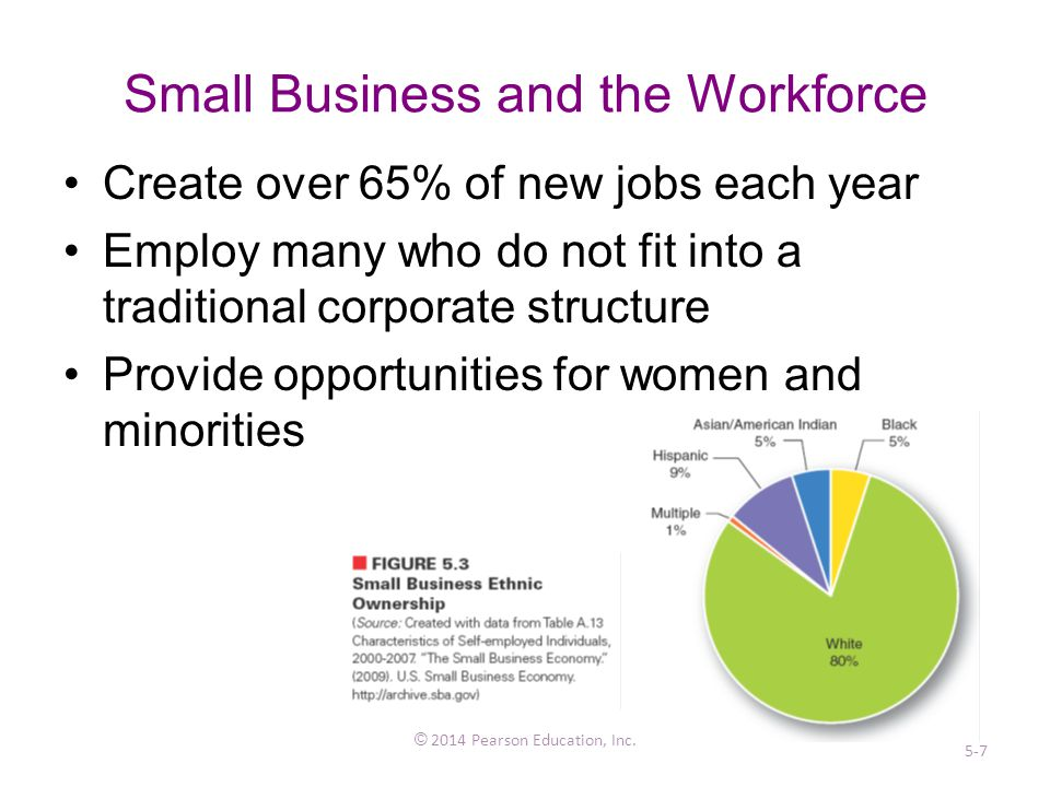 Small Business and the Workforce Create over 65% of new jobs each year Employ many who do not fit into a traditional corporate structure Provide opportunities for women and minorities © 2014 Pearson Education, Inc.