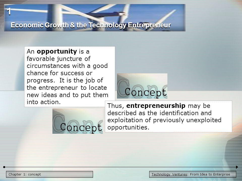 Chapter 1: Figure 1.1 - Finding the Right Opportunity Timely Solvable Important Profitable Favorable Context Like to do the tasks Like the challenge Committed to do what is necessary Skilled at the needed tasks The Sweet Spot An Attractive Opportunity Interests, Passions, Commitment Capabilities & Skills Finding the Right Opportunity Economic Growth & the Technology Entrepreneur 1 Technology Ventures: From Idea to Enterprise