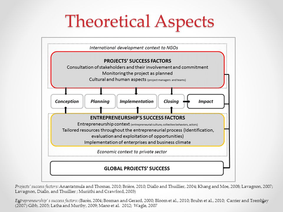 Theoretical Aspects Projects' success factors: Anantatmula and Thomas, 2010; Brière, 2010; Diallo and Thuillier, 2004; Khang and Moe, 2008; Lavagnon,