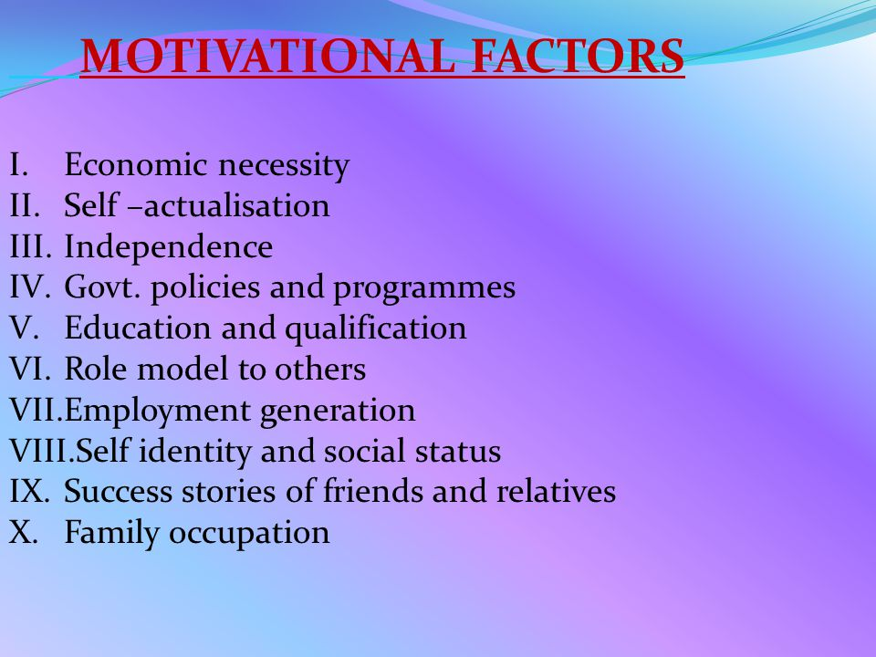 MOTIVATIONAL FACTORS I.Economic necessity II.Self –actualisation III.Independence IV.Govt.