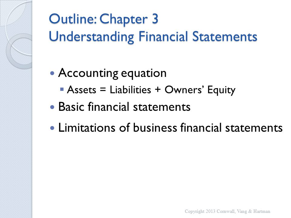 Outline: Chapter 3 Understanding Financial Statements Accounting equation  Assets = Liabilities + Owners' Equity Basic financial statements Limitations of business financial statements Copyright 2013 Cornwall, Vang & Hartman