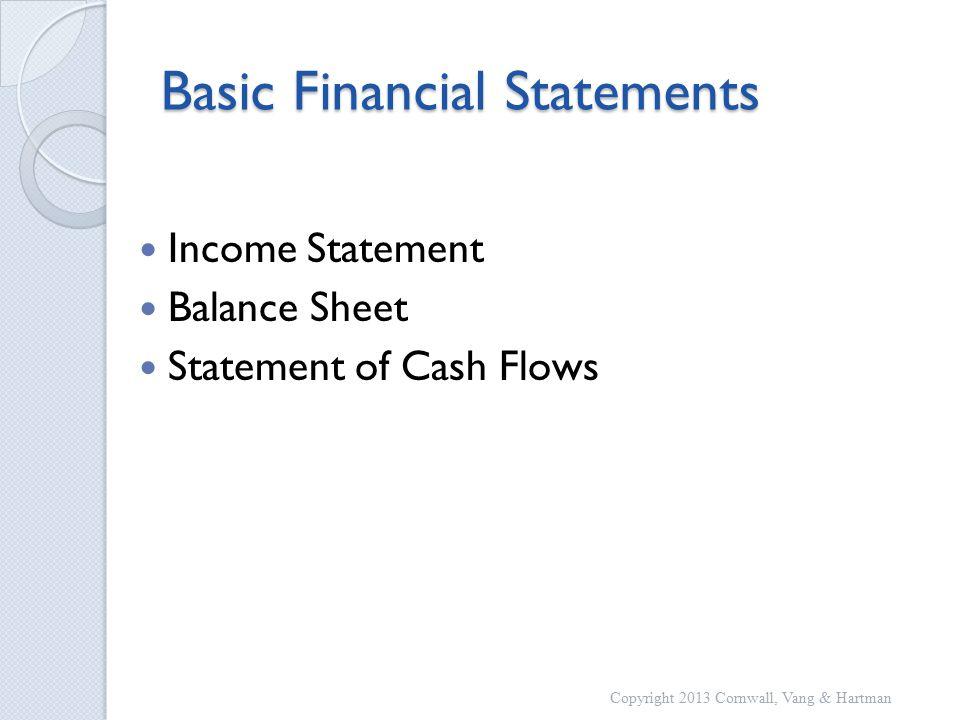 Basic Financial Statements Income Statement Balance Sheet Statement of Cash Flows Copyright 2013 Cornwall, Vang & Hartman