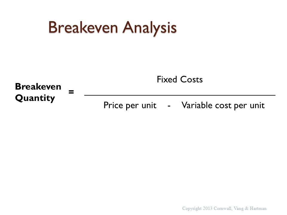 Breakeven Analysis Breakeven Quantity = Fixed Costs ____________________________________ Price per unit - Variable cost per unit Copyright 2013 Cornwall, Vang & Hartman