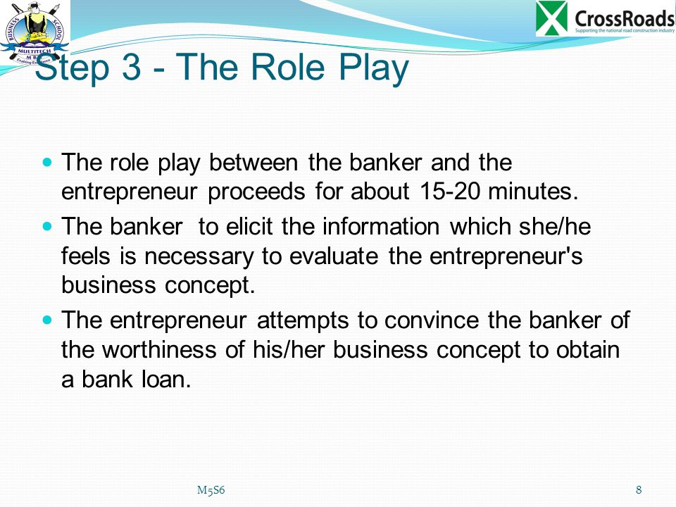 Step 3 - The Role Play The role play between the banker and the entrepreneur proceeds for about 15-20 minutes.
