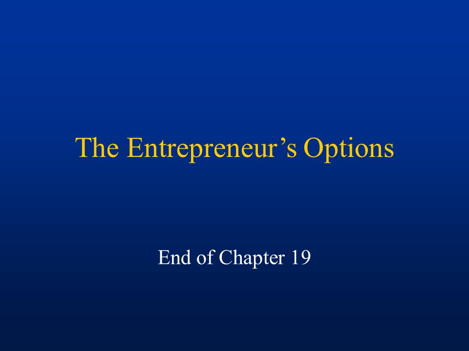 The Entrepreneur's Options End of Chapter 19