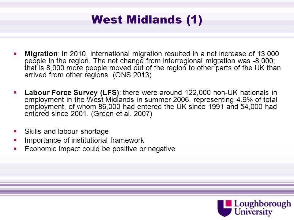 West Midlands (1)  Migration: In 2010, international migration resulted in a net increase of 13,000 people in the region.