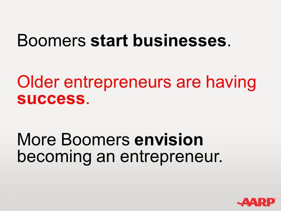 5 Boomers start businesses. Older entrepreneurs are having success.