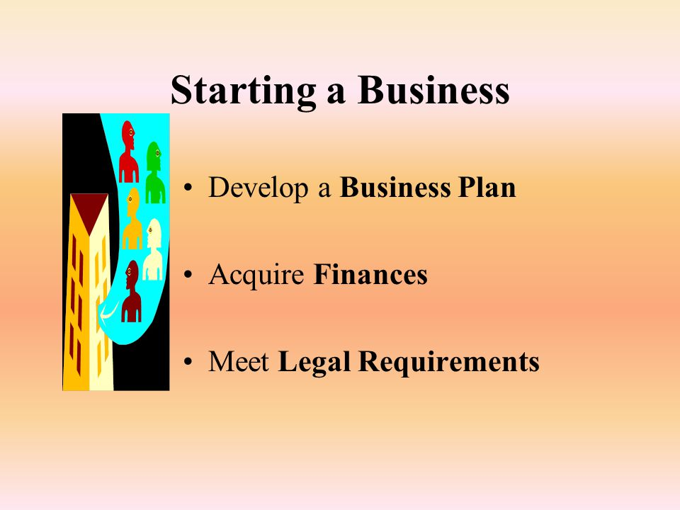 Starting a Business Develop a Business Plan Acquire Finances Meet Legal Requirements