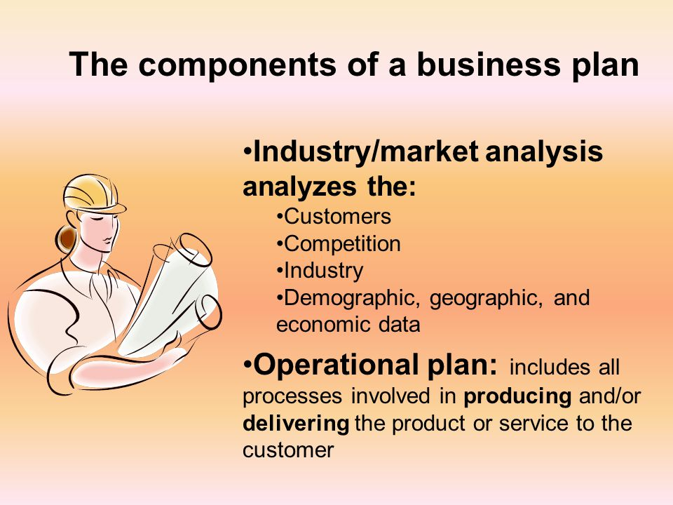 The components of a business plan Industry/market analysis analyzes the: Customers Competition Industry Demographic, geographic, and economic data Operational plan: includes all processes involved in producing and/or delivering the product or service to the customer