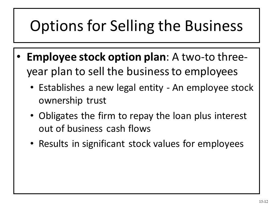 15-12 Options for Selling the Business Employee stock option plan: A two-to three- year plan to sell the business to employees Establishes a new legal