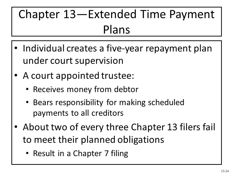 15-24 Chapter 13—Extended Time Payment Plans Individual creates a five-year repayment plan under court supervision A court appointed trustee: Receives