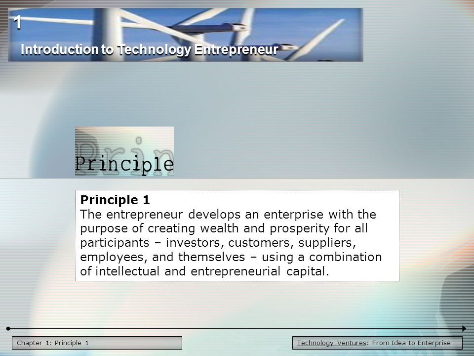 Chapter 1: Principle 1 Principle 1 The entrepreneur develops an enterprise with the purpose of creating wealth and prosperity for all participants – investors, customers, suppliers, employees, and themselves – using a combination of intellectual and entrepreneurial capital.