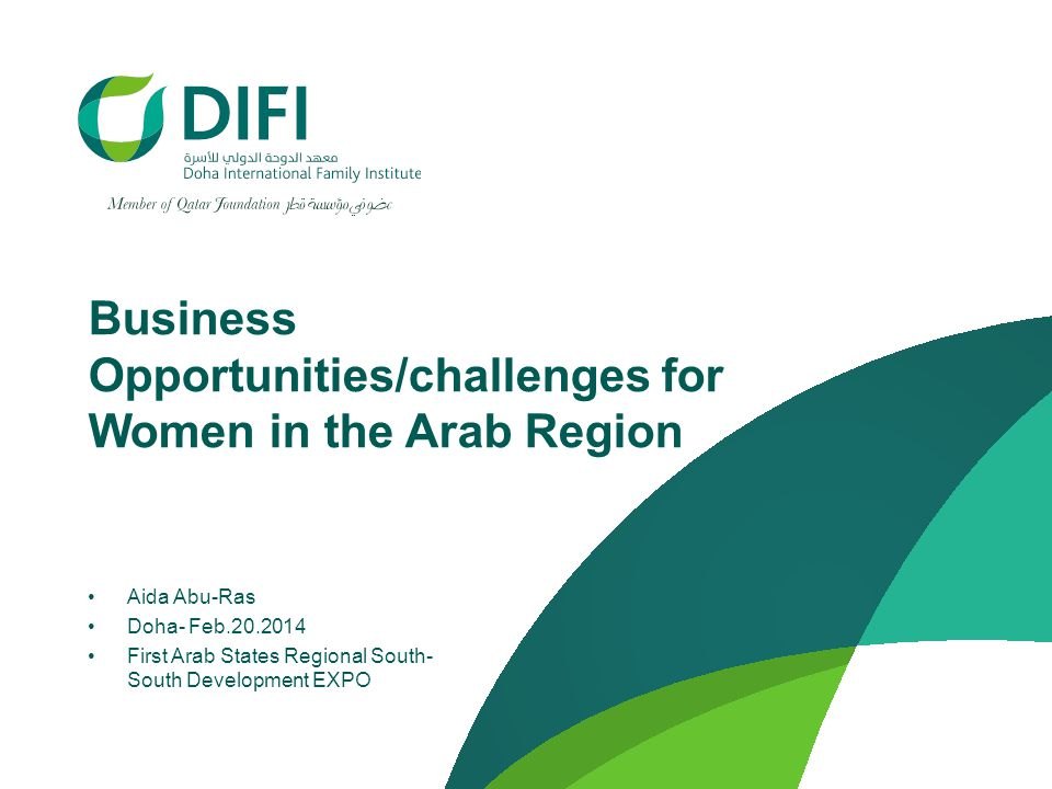 Business Opportunities/challenges for Women in the Arab Region Aida Abu-Ras Doha- Feb.20.2014 First Arab States Regional South- South Development EXPO
