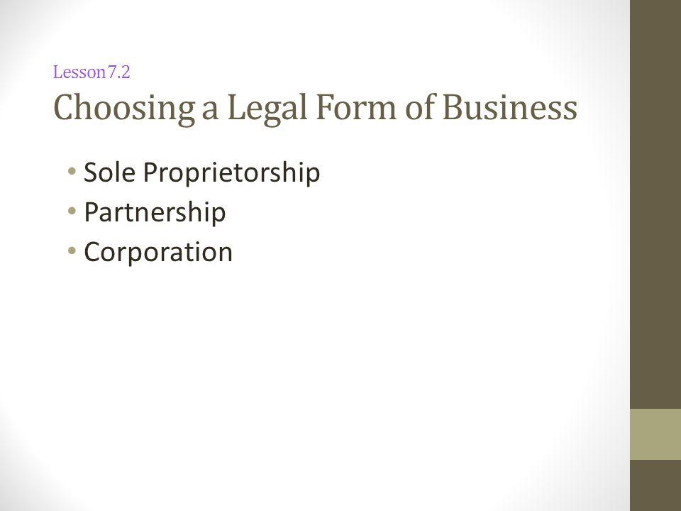 Lesson 7.2 Choosing a Legal Form of Business Sole Proprietorship Partnership Corporation