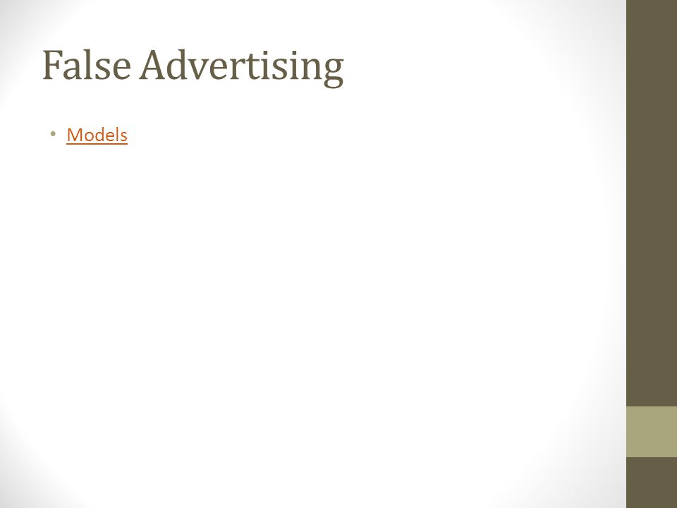 False Advertising Models