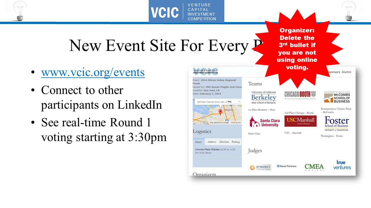 VENTURE CAPITAL INVESTMENT COMPETITION VCIC New Event Site For Every Region www.vcic.org/events Connect to other participants on LinkedIn See real-time Round 1 voting starting at 3:30pm Organizer: Delete the 3 rd bullet if you are not using online voting.