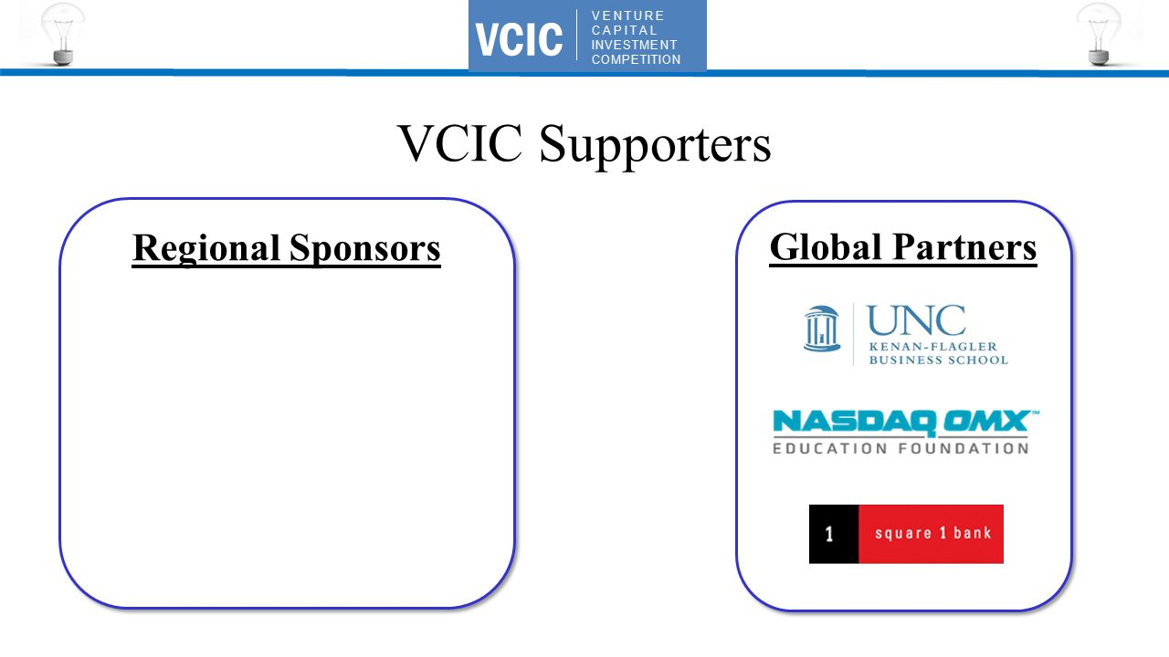 VENTURE CAPITAL INVESTMENT COMPETITION VCIC VCIC Supporters Global Partners Regional Sponsors
