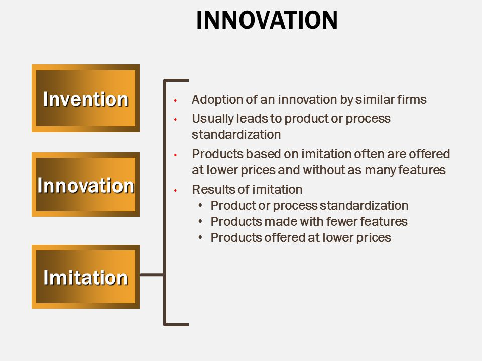 INNOVATIONInvention Innovation Imitation Adoption of an innovation by similar firms Usually leads to product or process standardization Products based