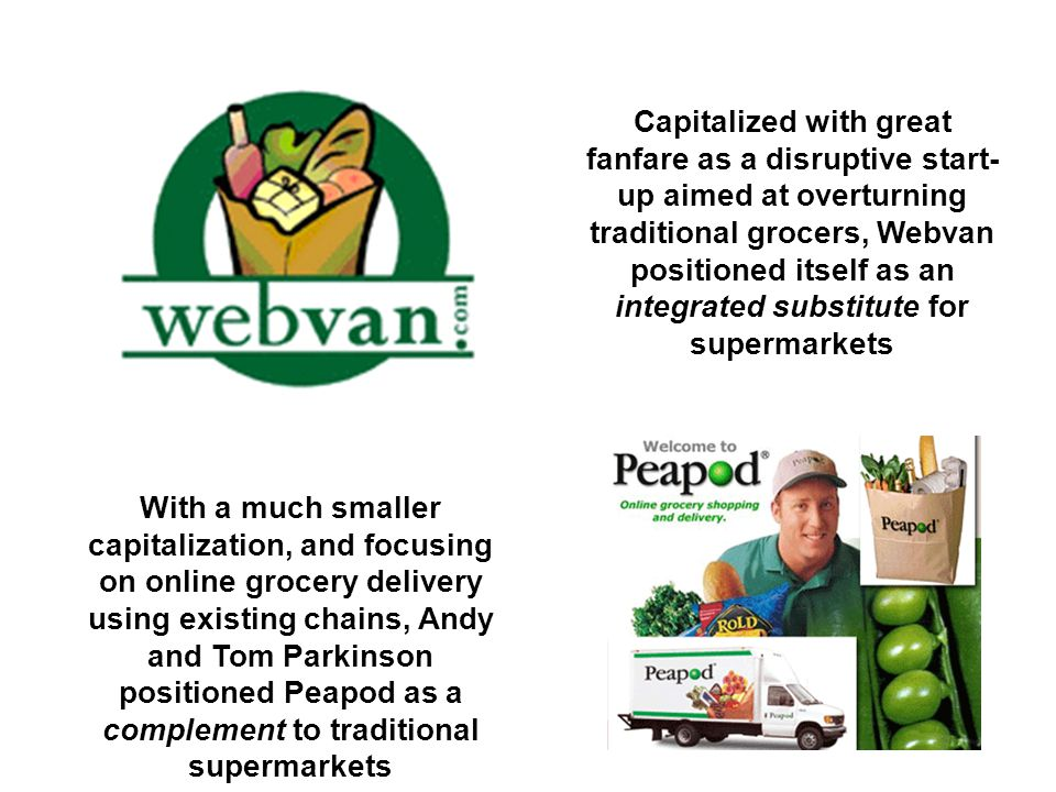 Capitalized with great fanfare as a disruptive start- up aimed at overturning traditional grocers, Webvan positioned itself as an integrated substitut