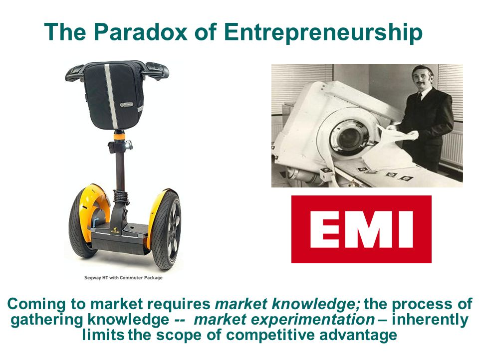 The Paradox of Entrepreneurship Coming to market requires market knowledge; the process of gathering knowledge -- market experimentation – inherently