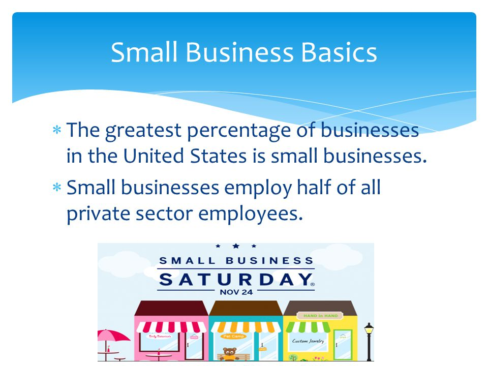  The greatest percentage of businesses in the United States is small businesses.  Small businesses employ half of all private sector employees. Smal