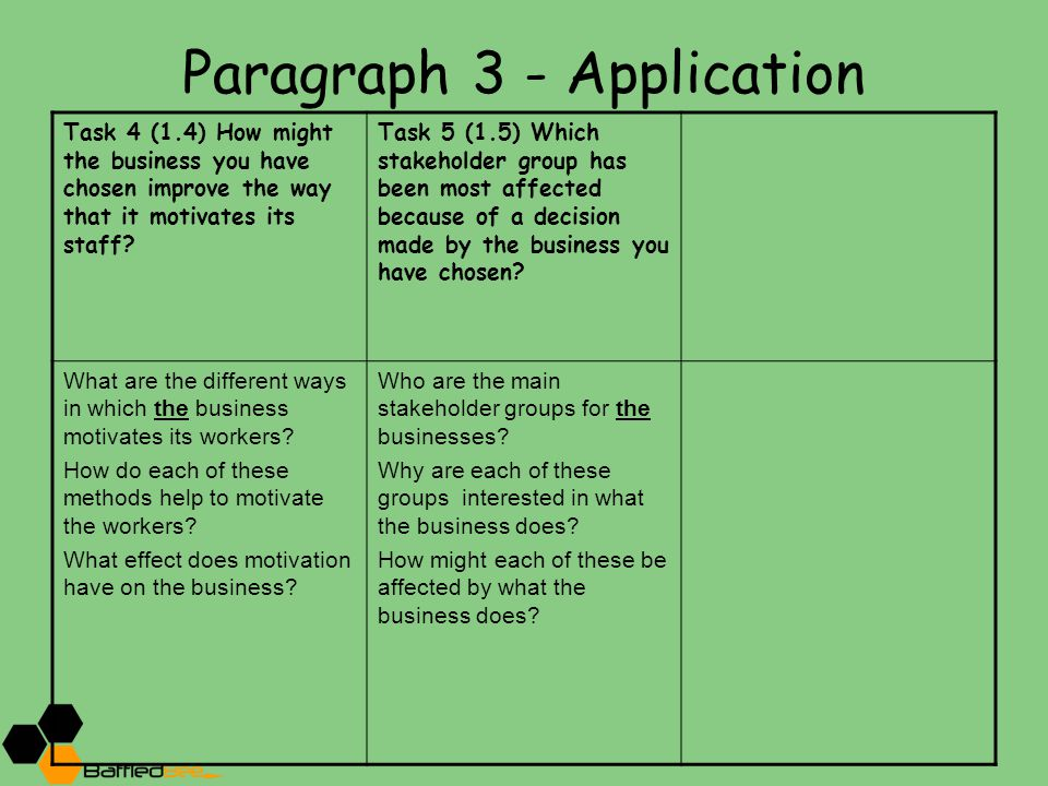 Paragraph 3 - Application Task 4 (1.4) How might the business you have chosen improve the way that it motivates its staff? Task 5 (1.5) Which stakehol