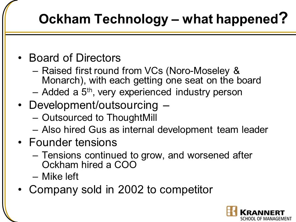Ockham Technology – what happened ? Board of Directors –Raised first round from VCs (Noro-Moseley & Monarch), with each getting one seat on the board
