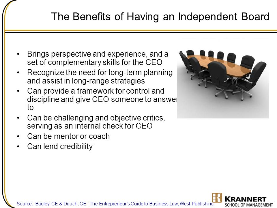 The Benefits of Having an Independent Board Brings perspective and experience, and a set of complementary skills for the CEO Recognize the need for lo