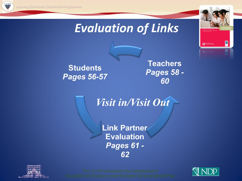 Evaluation of Links Students Pages 56-57 Link Partner Evaluation Pages 61 - 62 Teachers Pages 58 - 60 Visit in/Visit Out The LCVP is funded by the Department of Education and Science under the National Development Plan