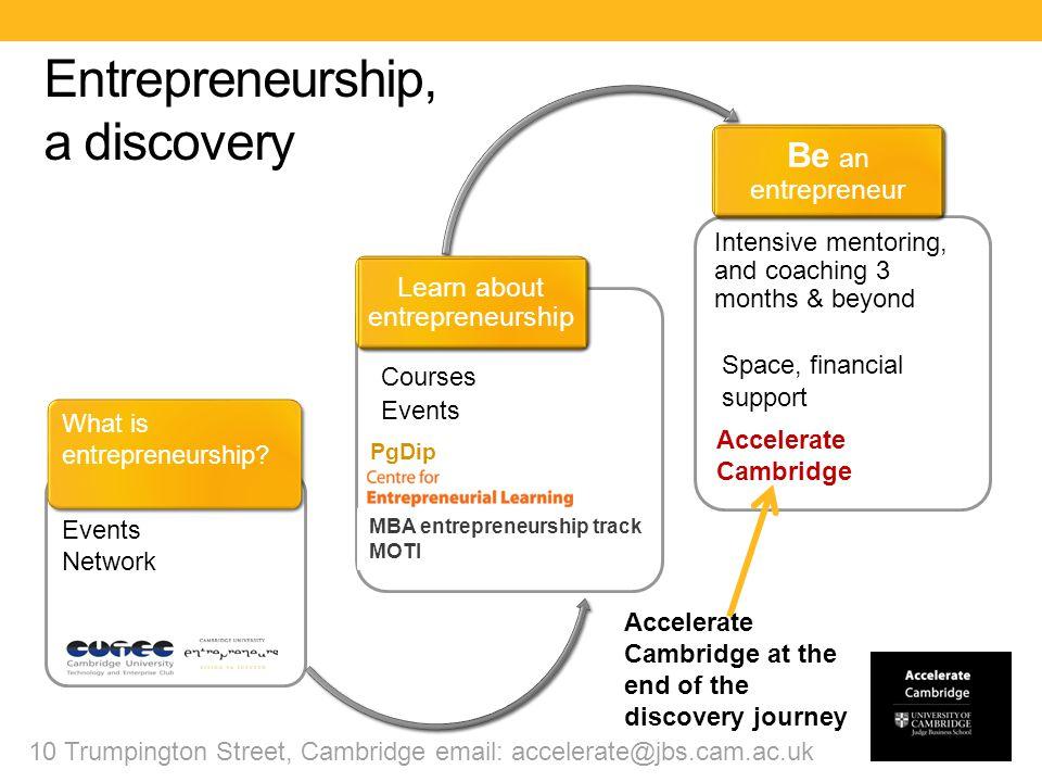 Entrepreneurship: an Accelerate Cambridge Journey 10 Trumpington Street, Cambridge email: accelerate@jbs.cam.ac.uk