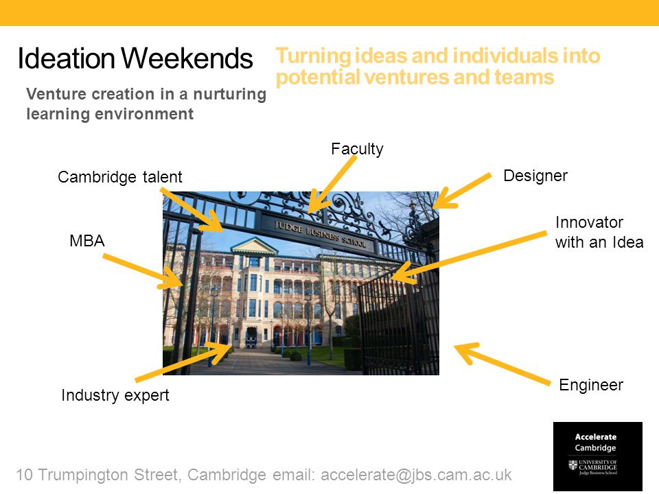 November 22 – 24 Cambridge @ CJBS Bring your business idea, form a team and launch your business in 54 hours.