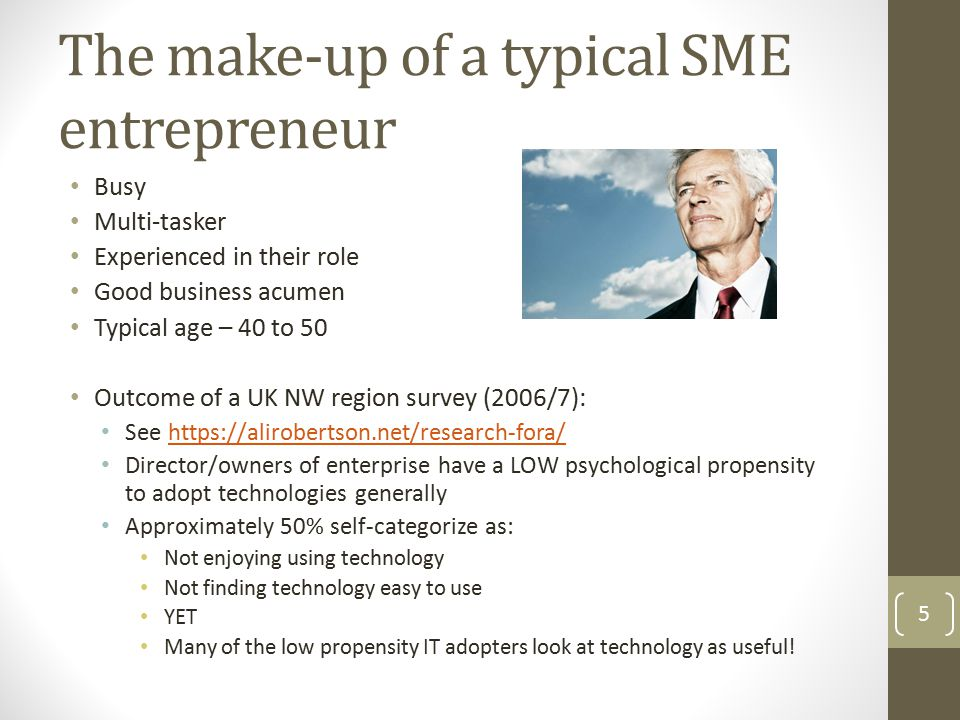 The make-up of a typical SME entrepreneur Busy Multi-tasker Experienced in their role Good business acumen Typical age – 40 to 50 Outcome of a UK NW r