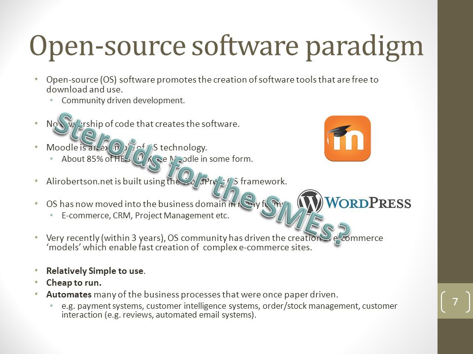 Open-source software paradigm Open-source (OS) software promotes the creation of software tools that are free to download and use. Community driven de