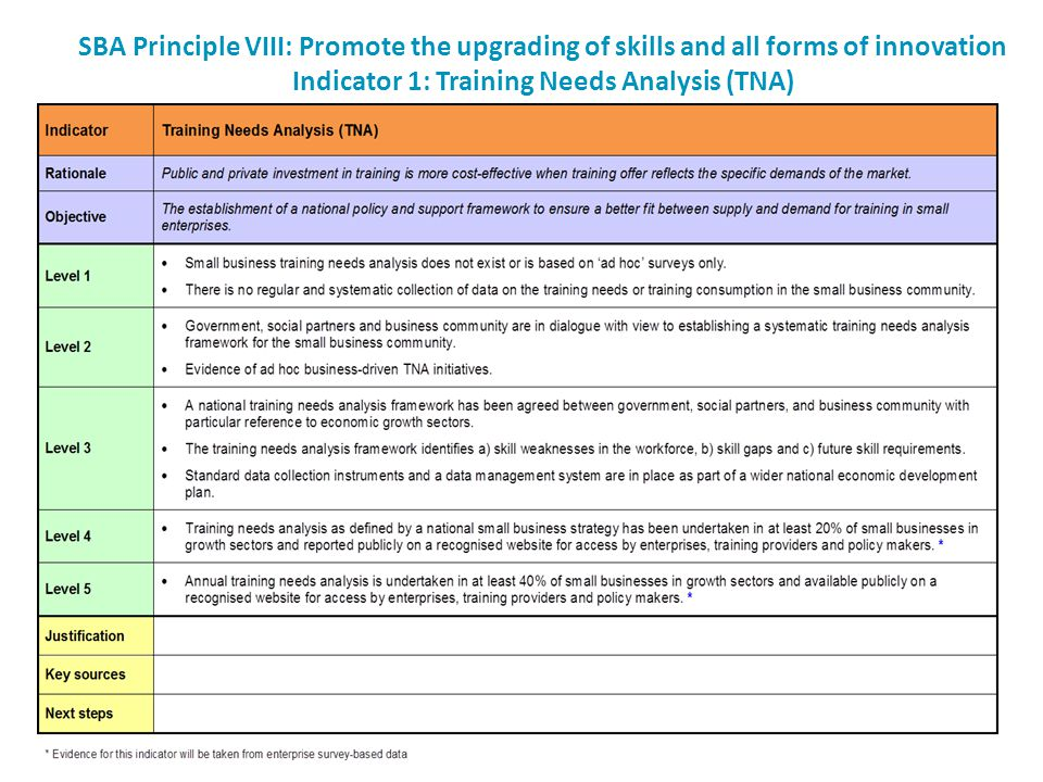 SBA Principle VIII: Promote the upgrading of skills and all forms of innovation Indicator 1: Training Needs Analysis (TNA)