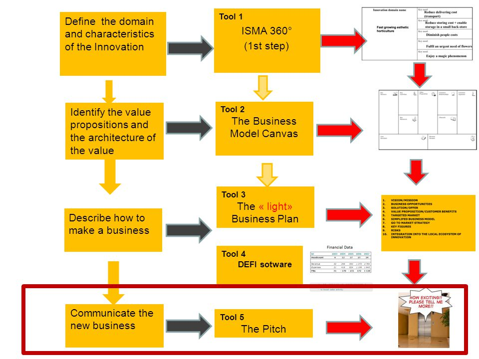 Define the domain and characteristics of the Innovation Identify the value propositions and the architecture of the value Describe how to make a busin