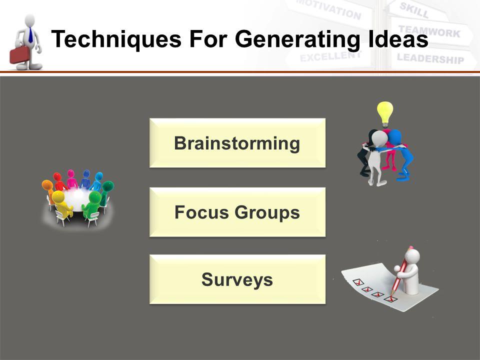 Techniques For Generating Ideas Brainstorming Focus Groups Surveys