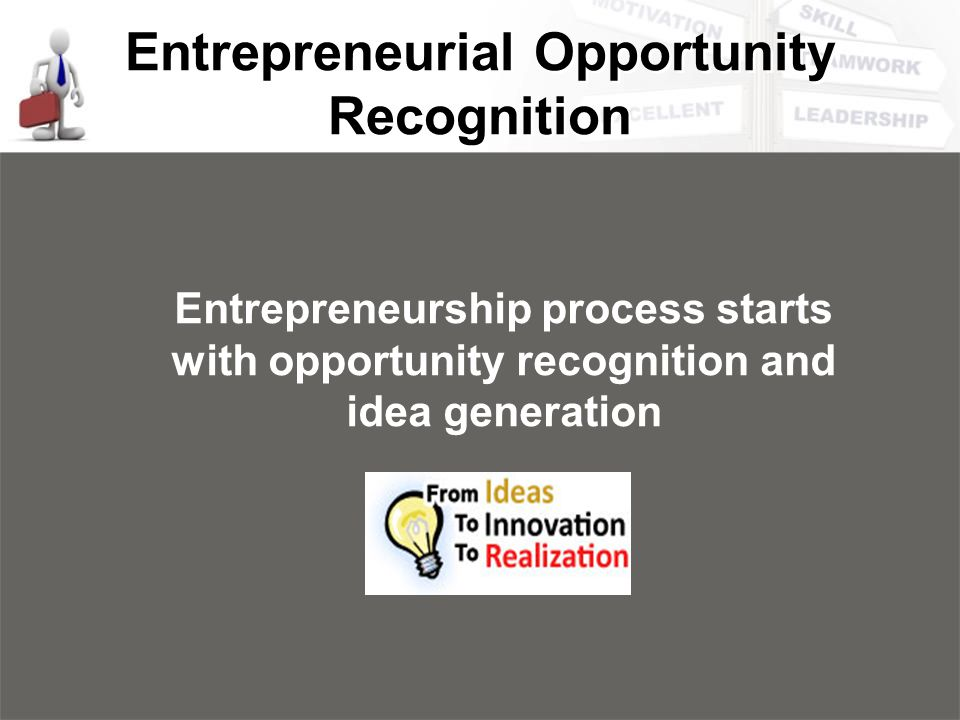 Entrepreneurial Opportunity Recognition Entrepreneurship process starts with opportunity recognition and idea generation