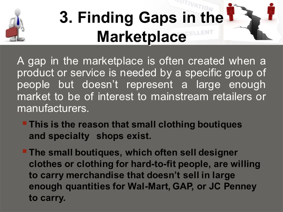 3. Finding Gaps in the Marketplace A gap in the marketplace is often created when a product or service is needed by a specific group of people but doe