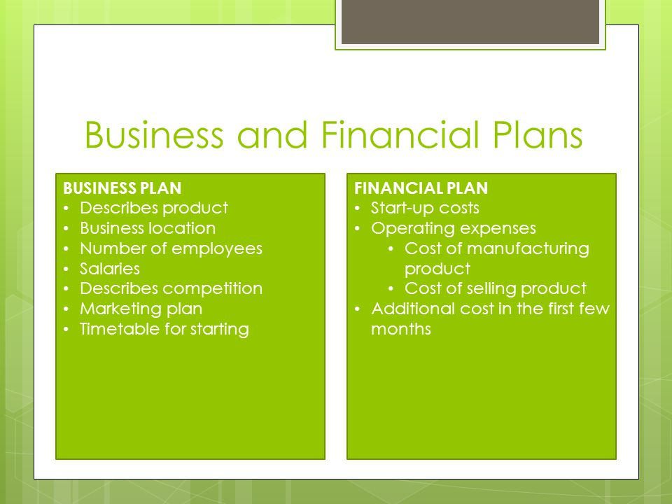 Business and Financial Plans BUSINESS PLAN Describes product Business location Number of employees Salaries Describes competition Marketing plan Timetable for starting FINANCIAL PLAN Start-up costs Operating expenses Cost of manufacturing product Cost of selling product Additional cost in the first few months