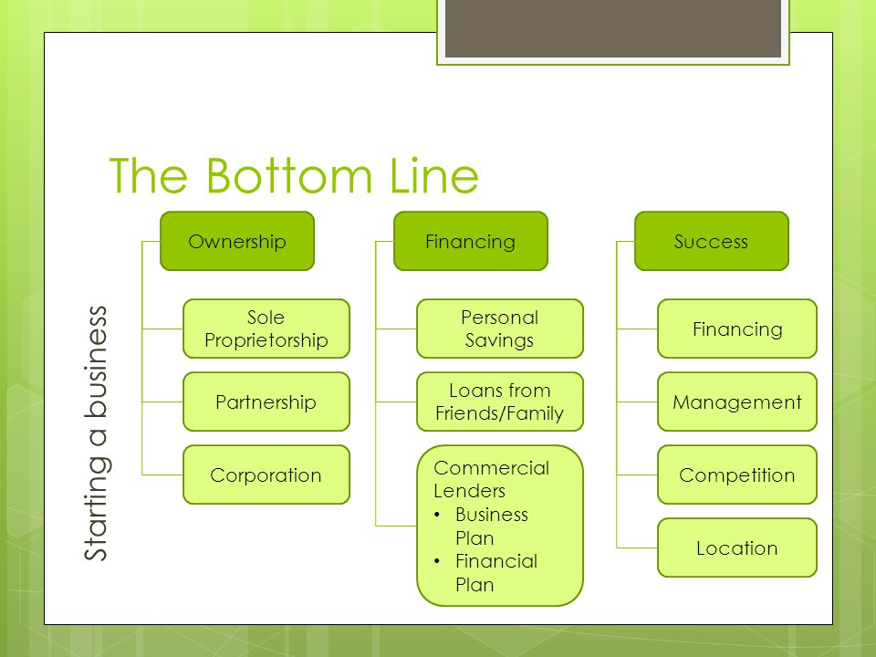 The Bottom Line Starting a business OwnershipFinancingSuccess Sole Proprietorship Personal Savings Financing Partnership Loans from Friends/Family Management Corporation Commercial Lenders Business Plan Financial Plan Competition Location