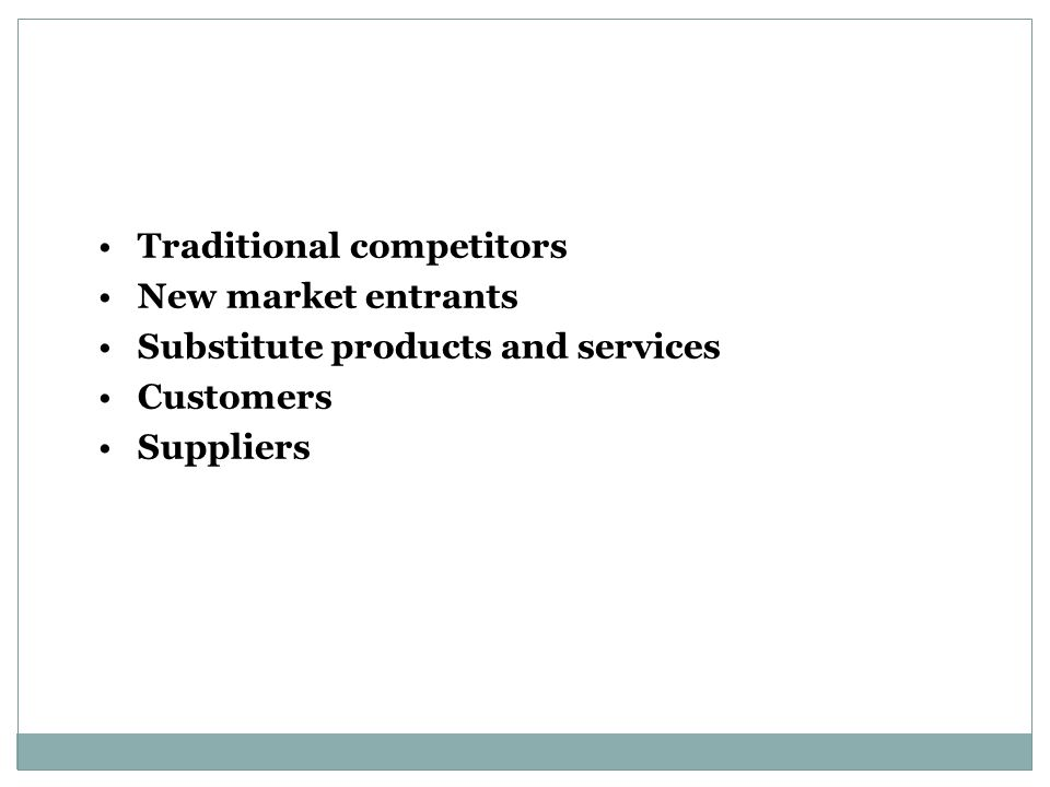 Traditional competitors New market entrants Substitute products and services Customers Suppliers