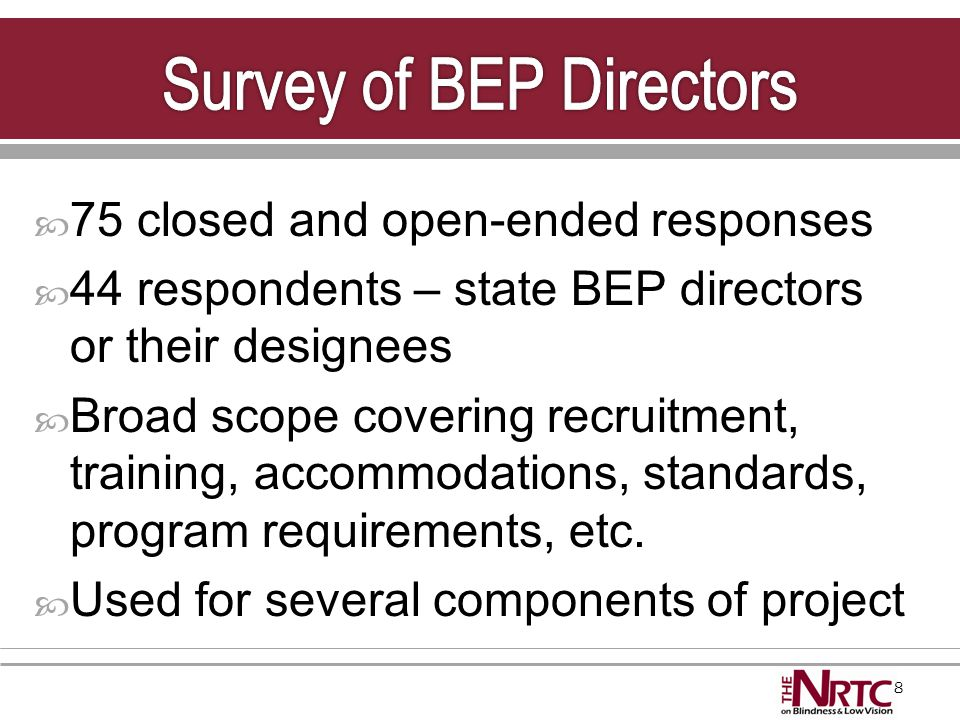29  Compile minimum entry requirements for each state BEP Useful tool to have all states' requirements combined in one document  Identify and compile a list of preferred qualifications for BEP entrepreneurs entering the program Useful tool to have a master list of recognized skills necessary to be successful in the BEP