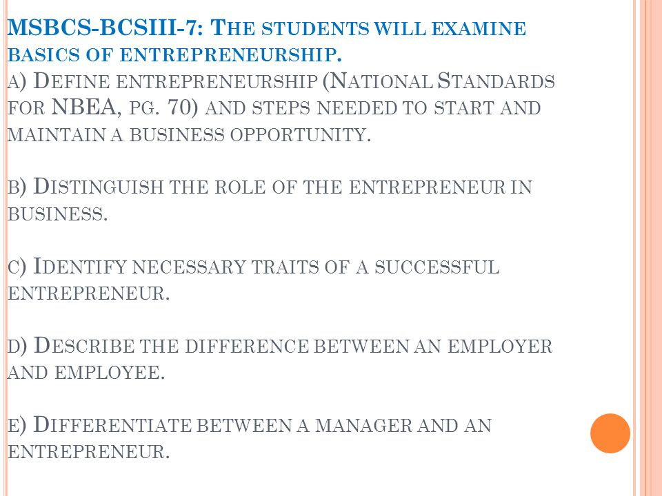 MSBCS-BCSIII-7: T HE STUDENTS WILL EXAMINE BASICS OF ENTREPRENEURSHIP.