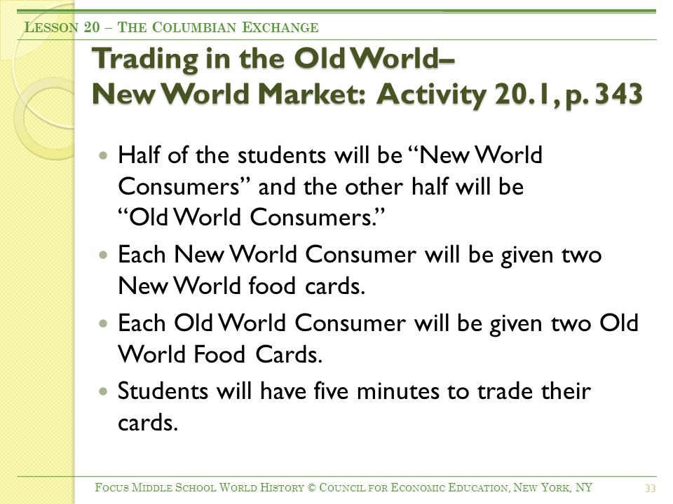 Trading in the Old World– New World Market: Activity 20.1, p.