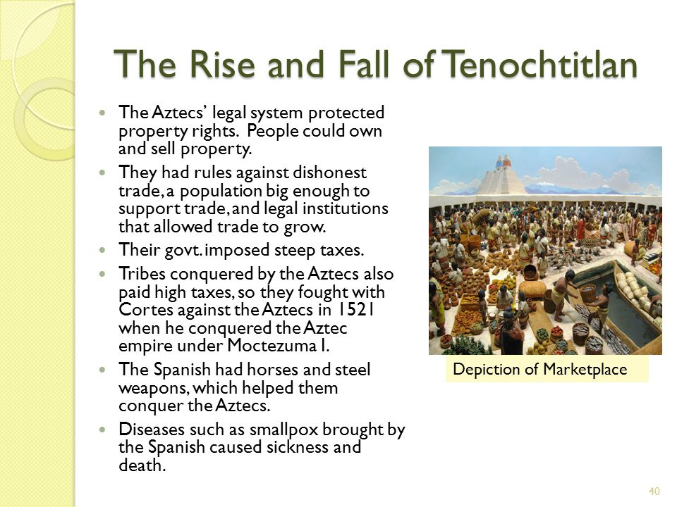 The Rise and Fall of Tenochtitlan 40 The Aztecs' legal system protected property rights.