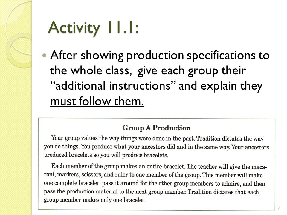 Activity 11.1: After showing production specifications to the whole class, give each group their additional instructions and explain they must follow them.