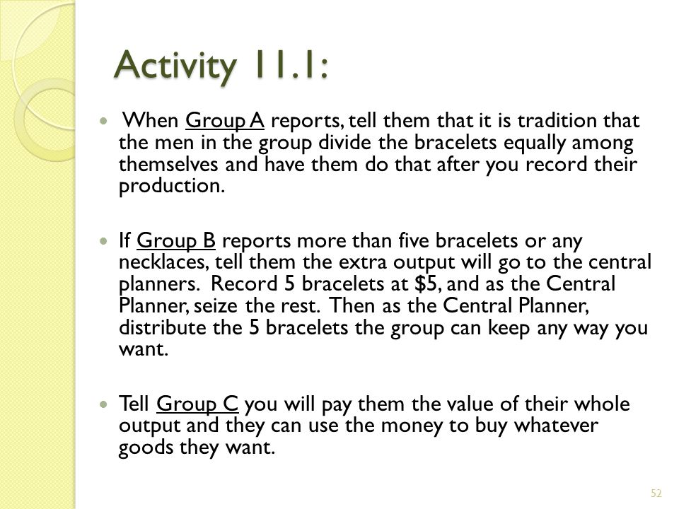 Activity 11.1: When Group A reports, tell them that it is tradition that the men in the group divide the bracelets equally among themselves and have them do that after you record their production.